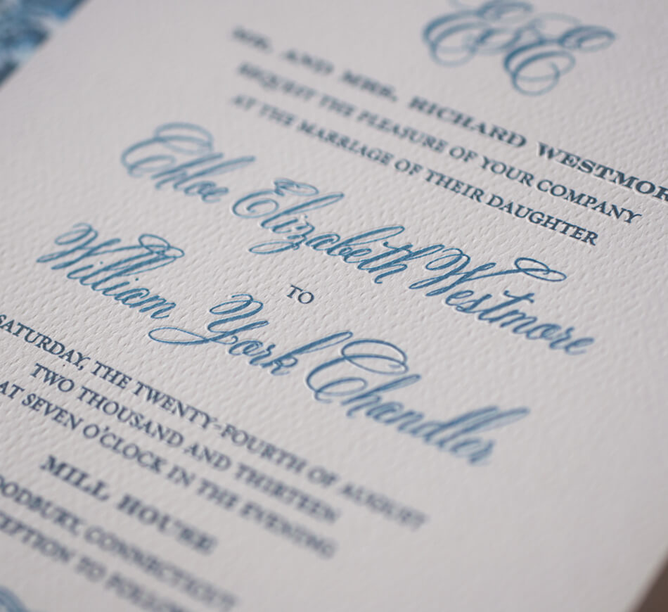 Blue and white typography with script