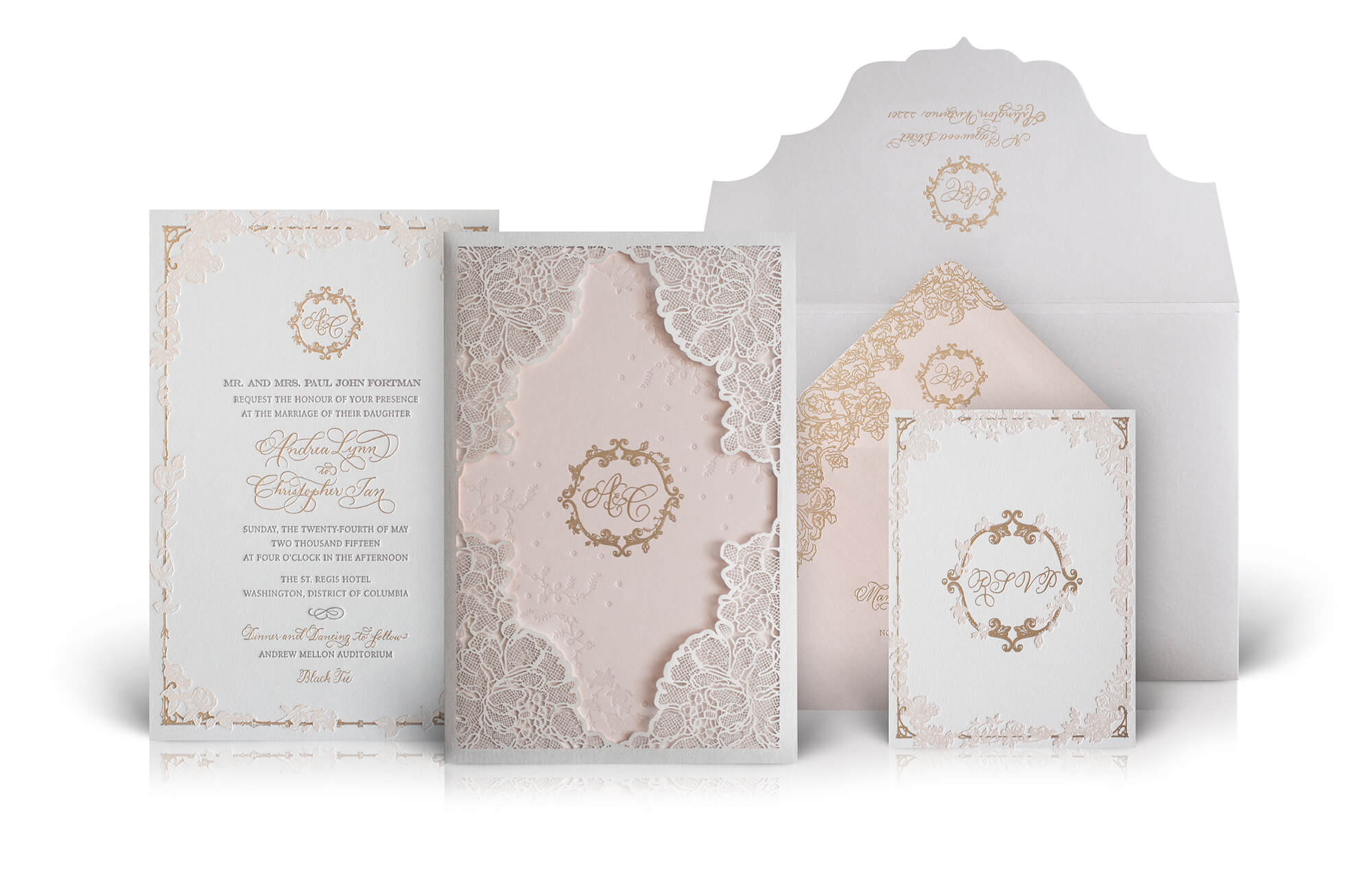 Lace laser cut blush and gold wedding invitation