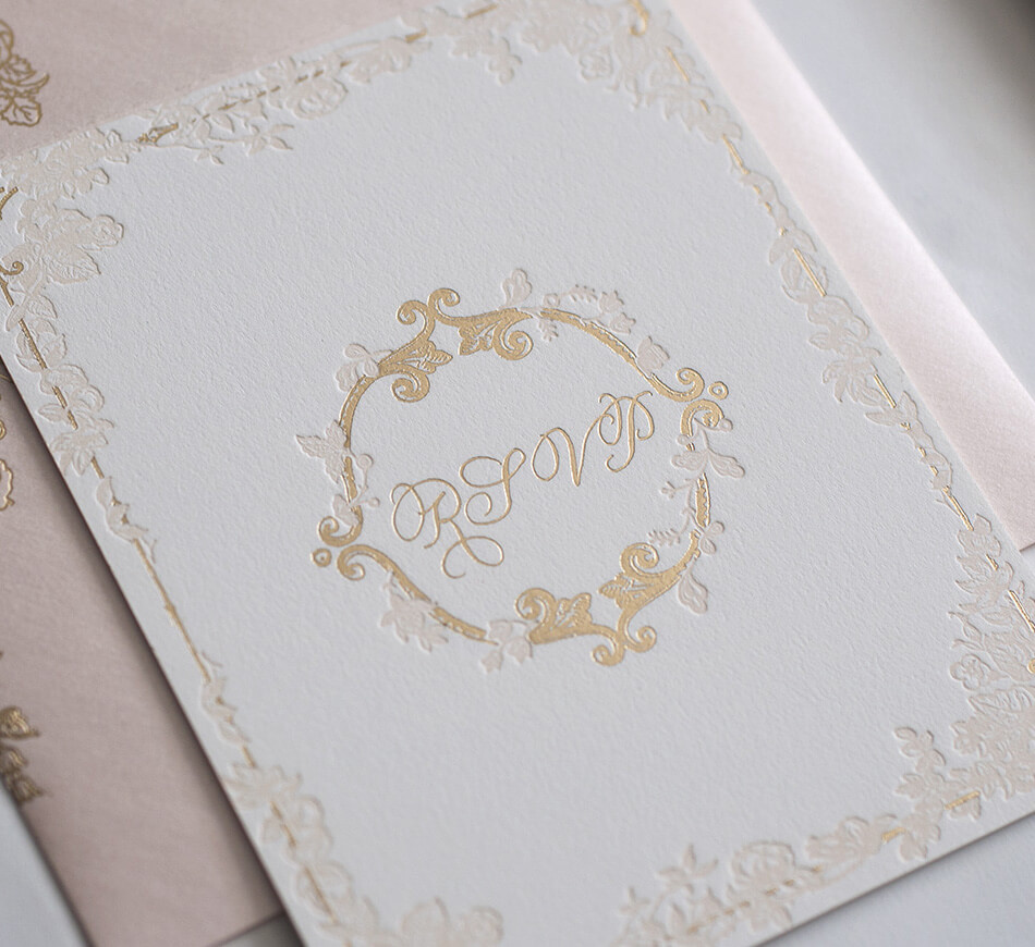 Blush letterpress and gold foil reply card