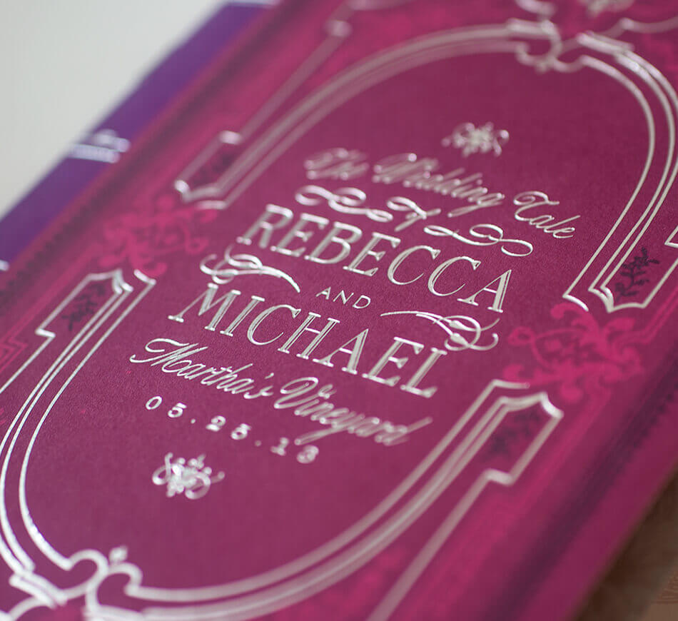 Booklet cover typography in silver foil