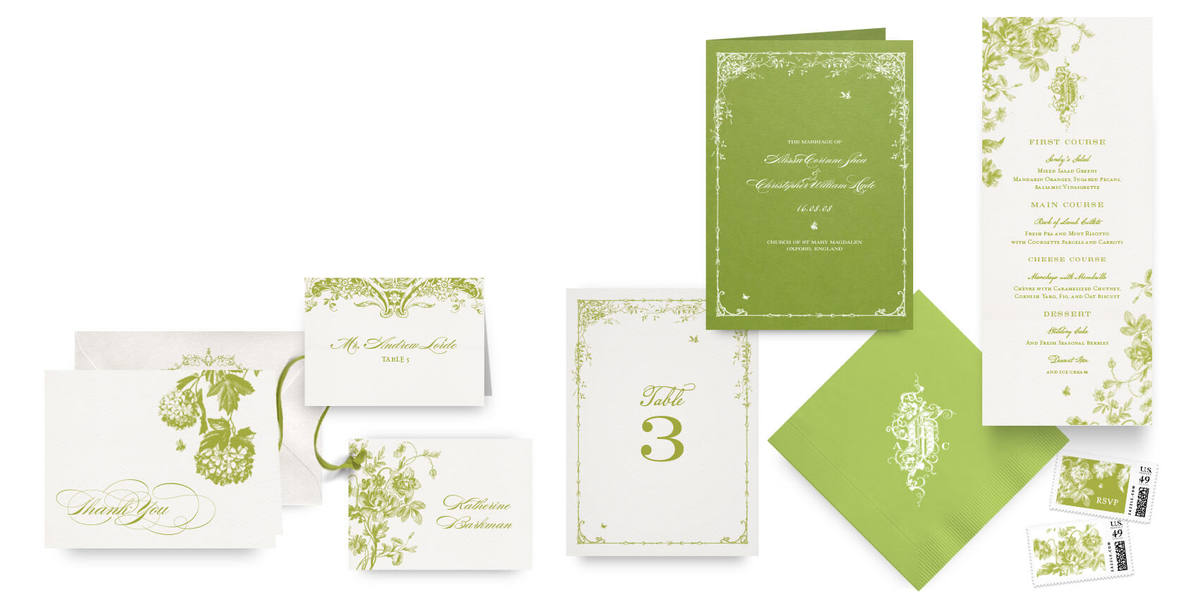 Botanical garden menus, programs and wedding accessories