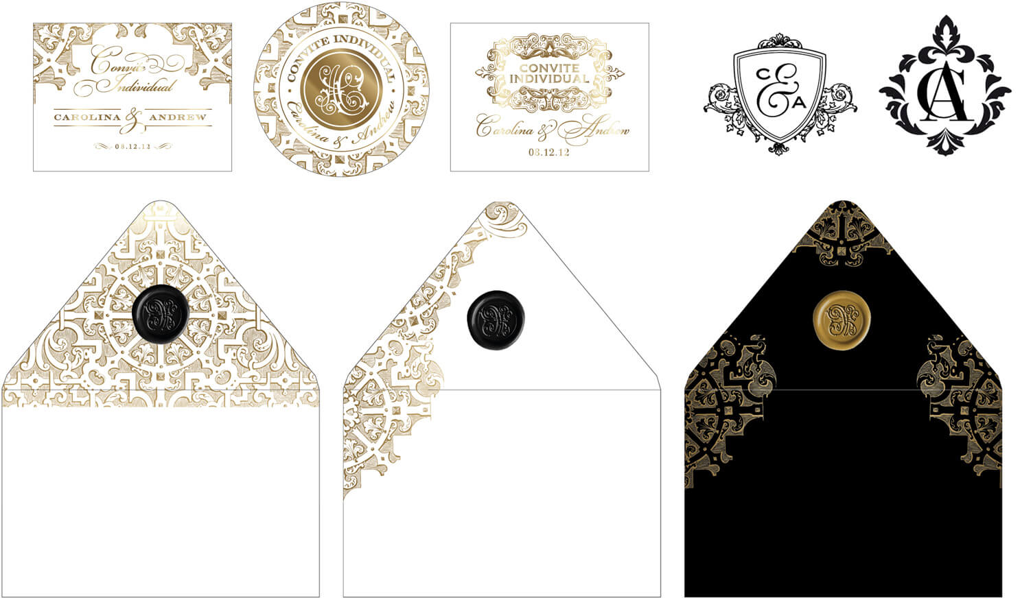 Castle Itaipava inspired envelopes and entrance cards
