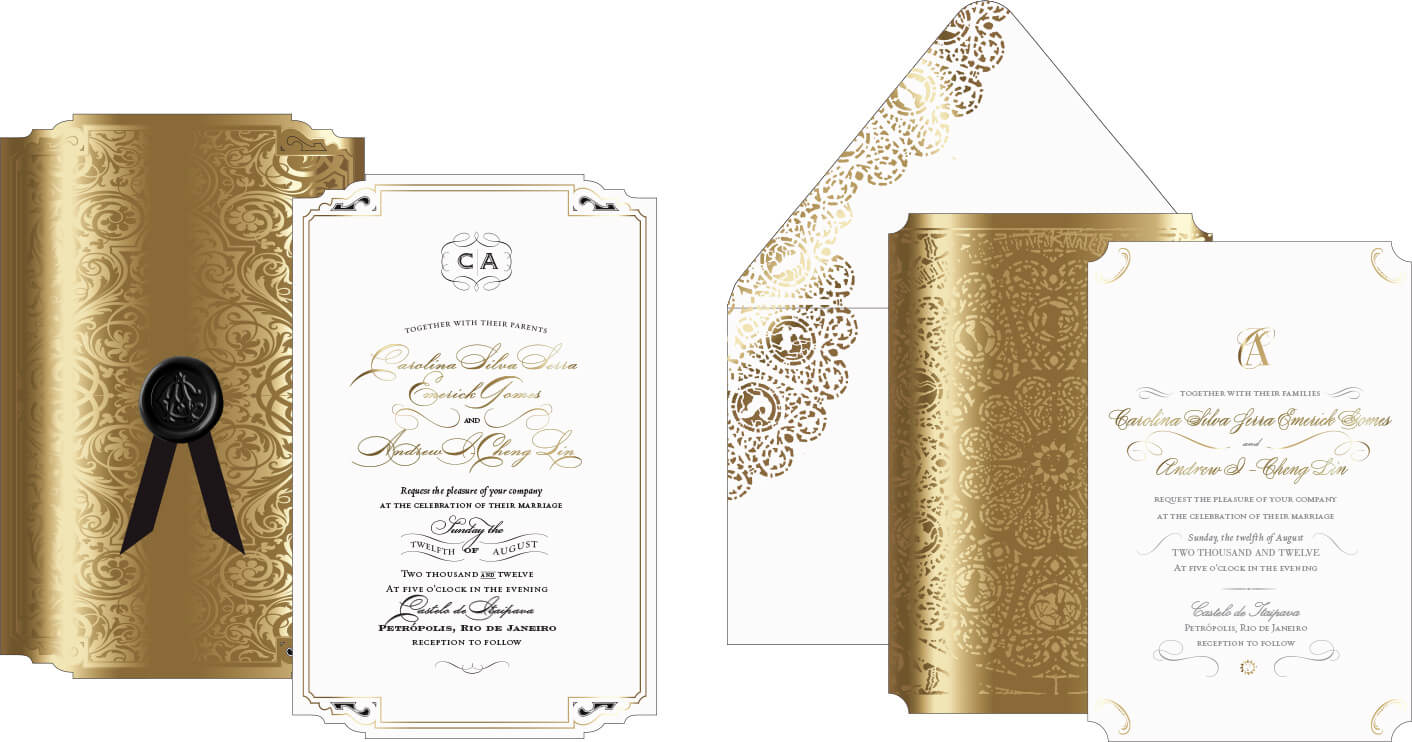 Gold and ivory ornate wedding invitation designs