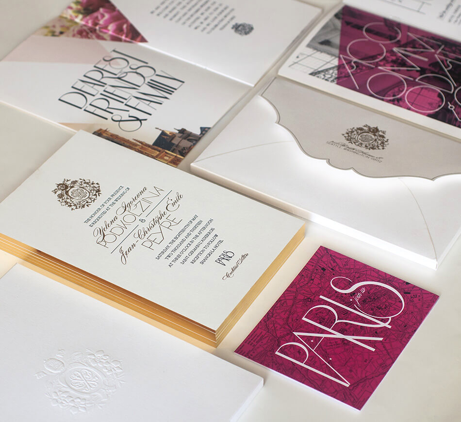 Classic meets contemporary wedding invitation