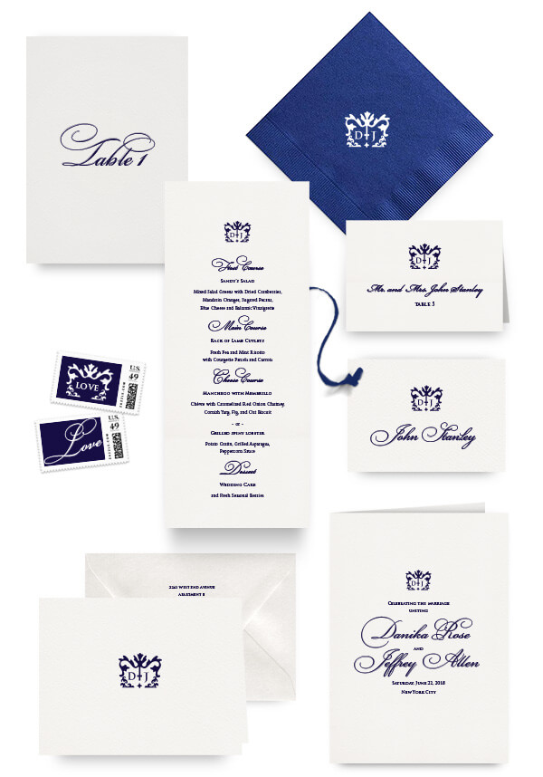 Classic navy napkins, table cards, escort and place cards