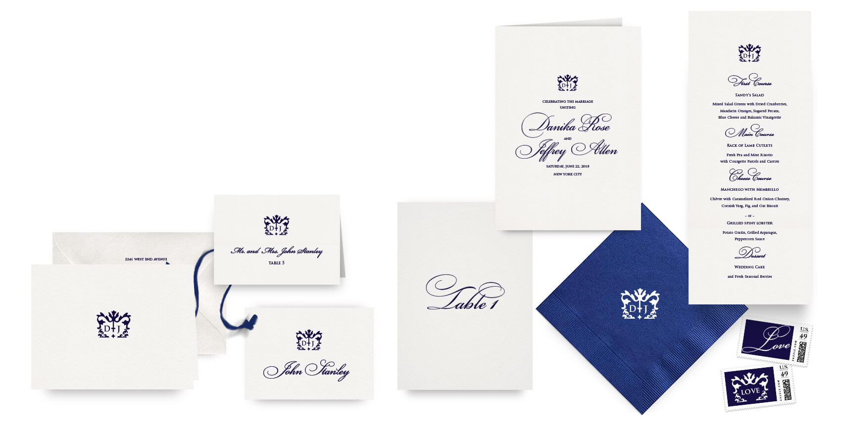 Classic navy menus, programs and wedding accessories