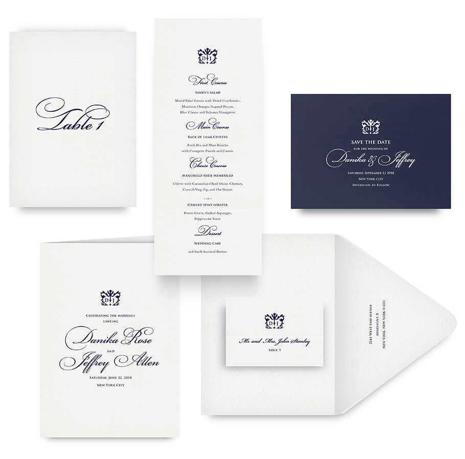 Classic save the date, menu, program and wedding accessories