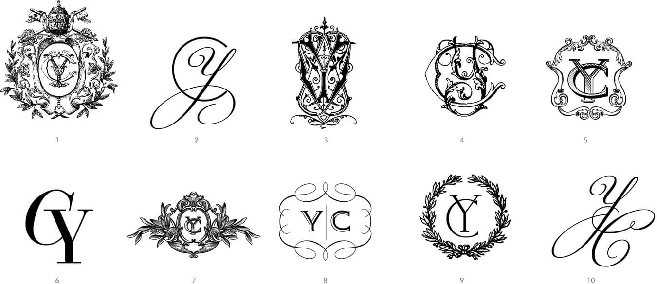 Custom designed classic wedding monograms