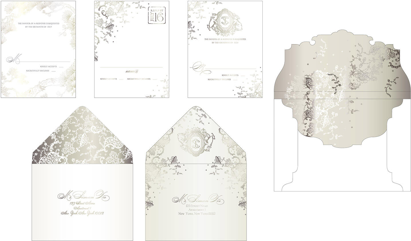 Custom designed envelopes and foil stamped reply cards