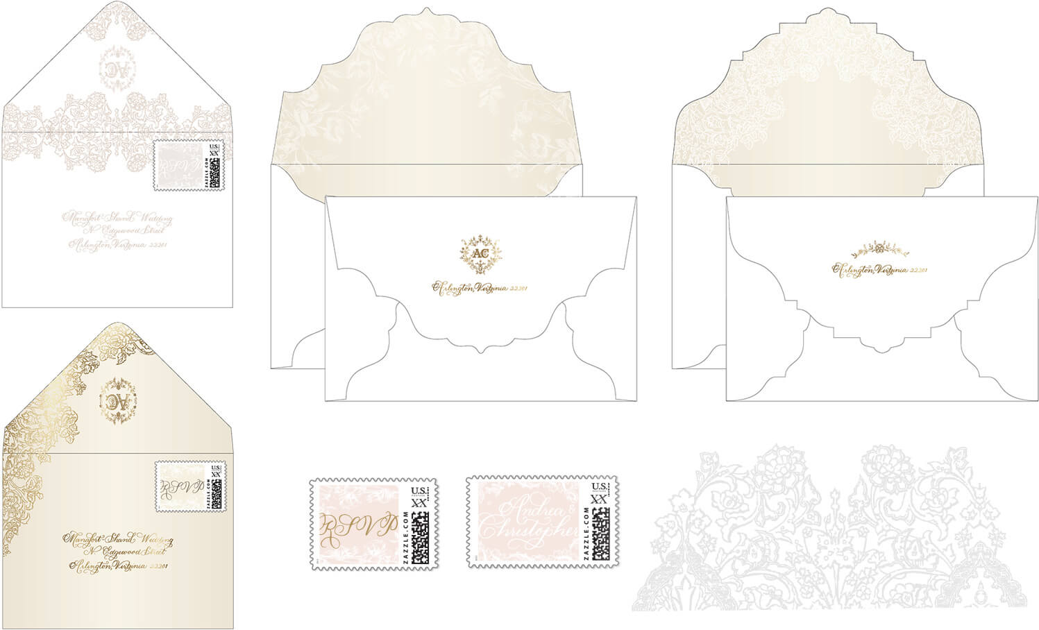 Custom designed envelope, stamps and reply envelope