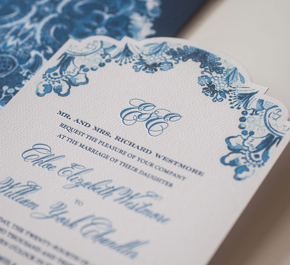 Die cut invitation card with letterpress printing