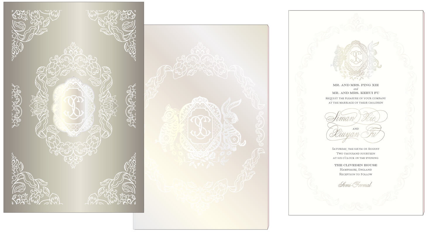 Pear foil and letterpress wedding invitation with a shimmer laser cut sleeve
