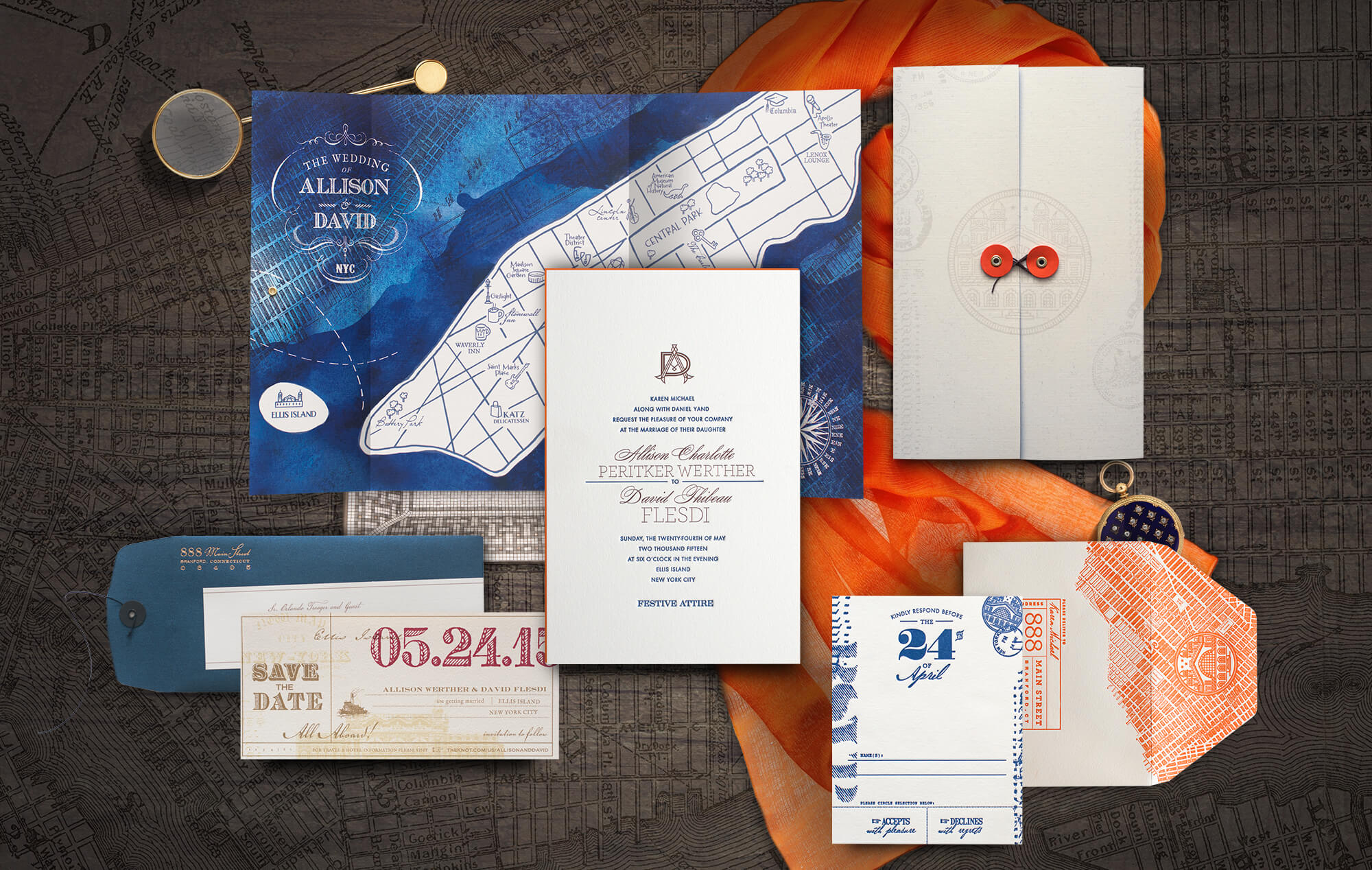 Ellis Island New York City wedding invitation