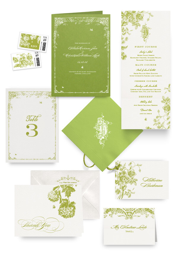 English garden napkins, table cards, escort and place cards