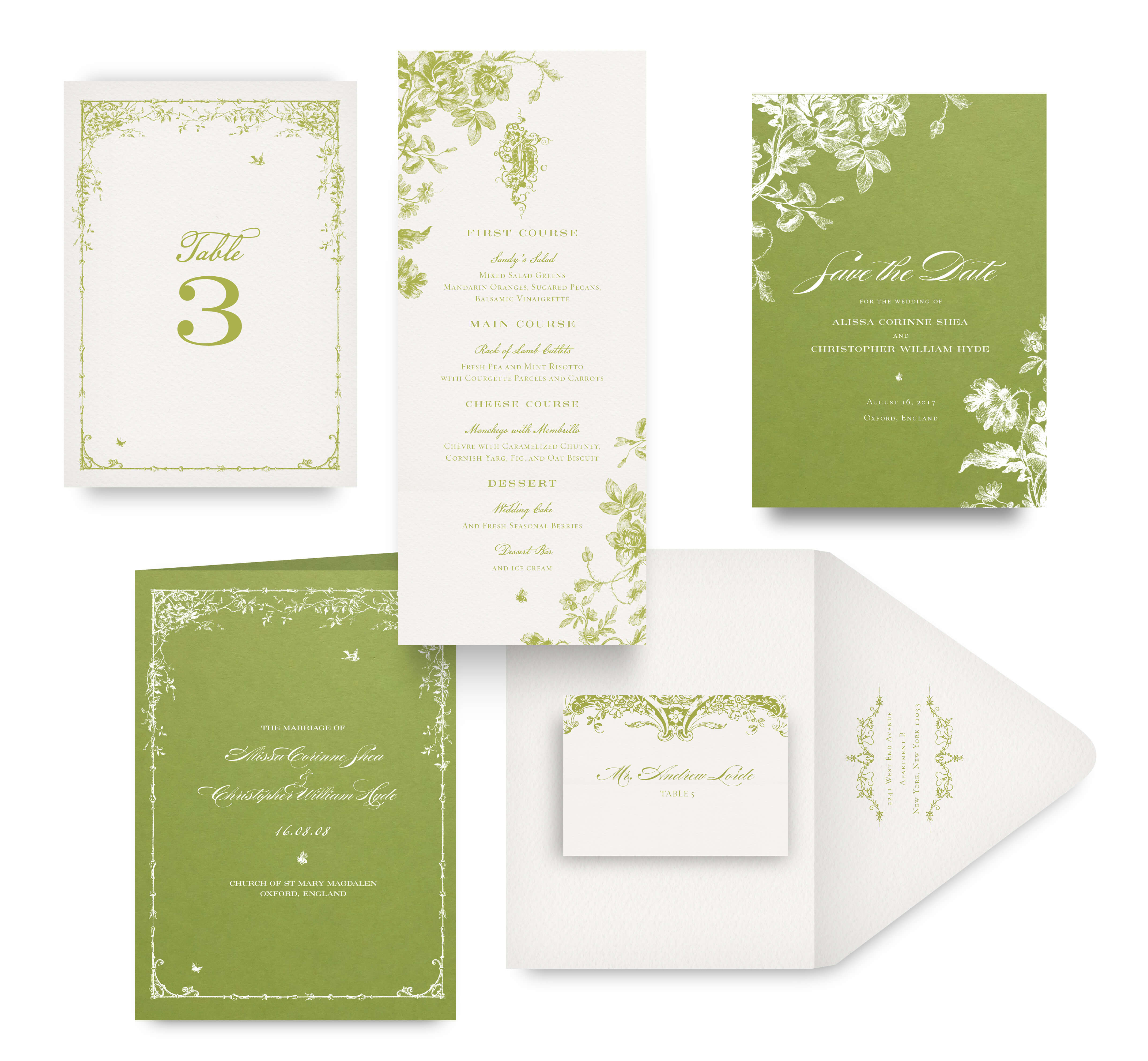 English Garden Save the Date and Wedding Accessories