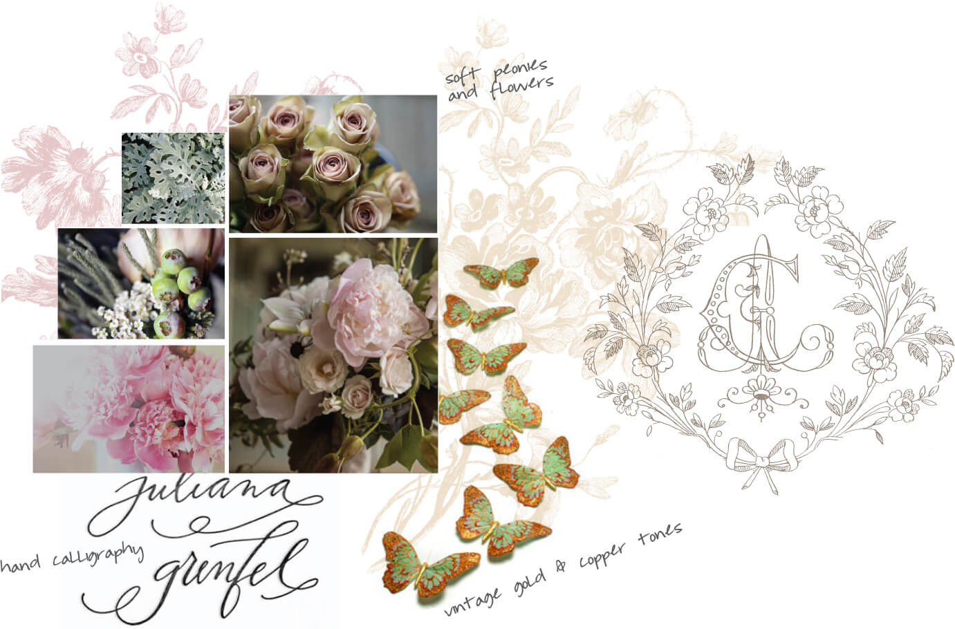Soft peonies, flowers, vintage gold and copper tones