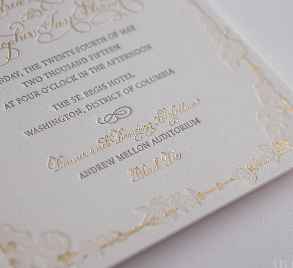 Foil and letterpress wedding invitation detail