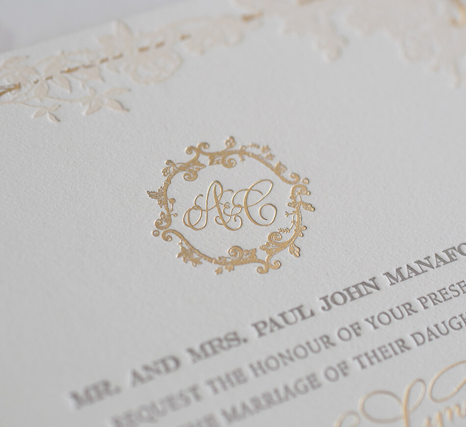 Gold monogram with wreath border
