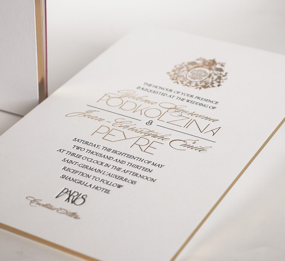 Gold foil and black letterpress detail