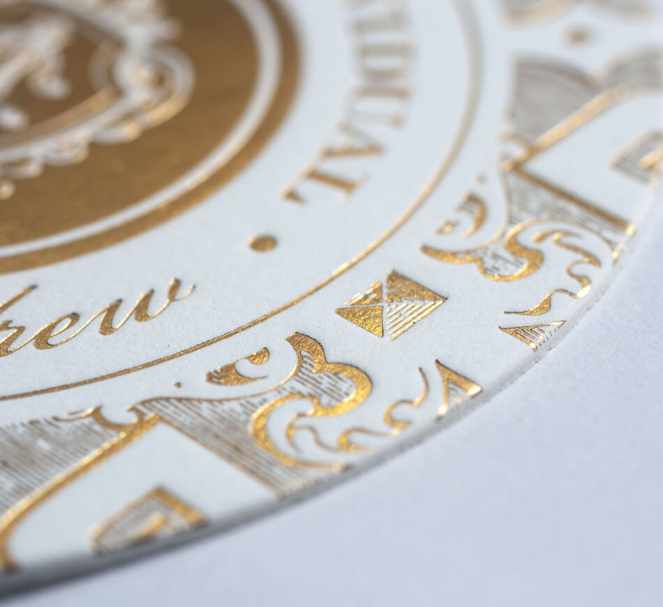 Gold foil stamping on an entrance card