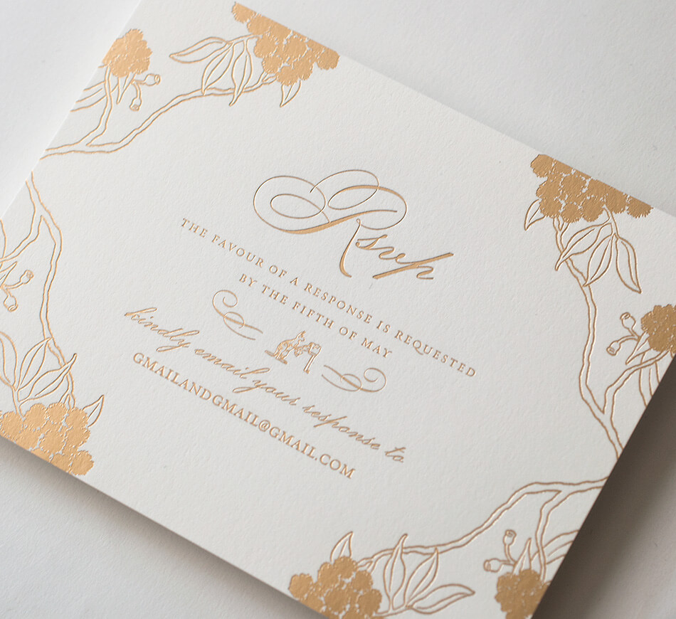 Gold foil reply card