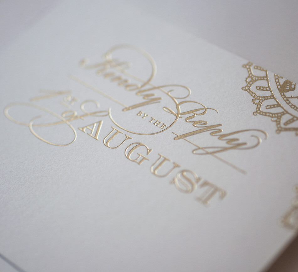 Gold foil stamped reply card