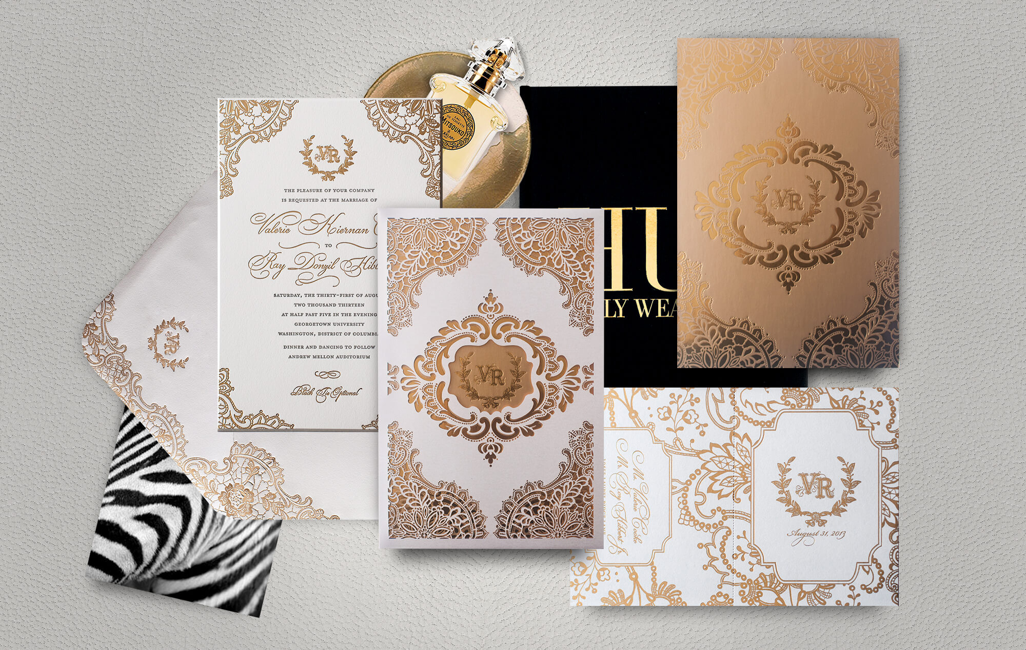 Gold lace laser cut wedding invitation