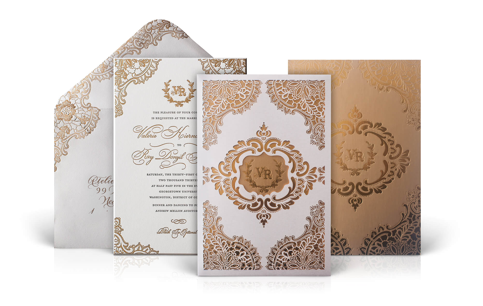 Luxury laser cut wedding invitation with lace motifs