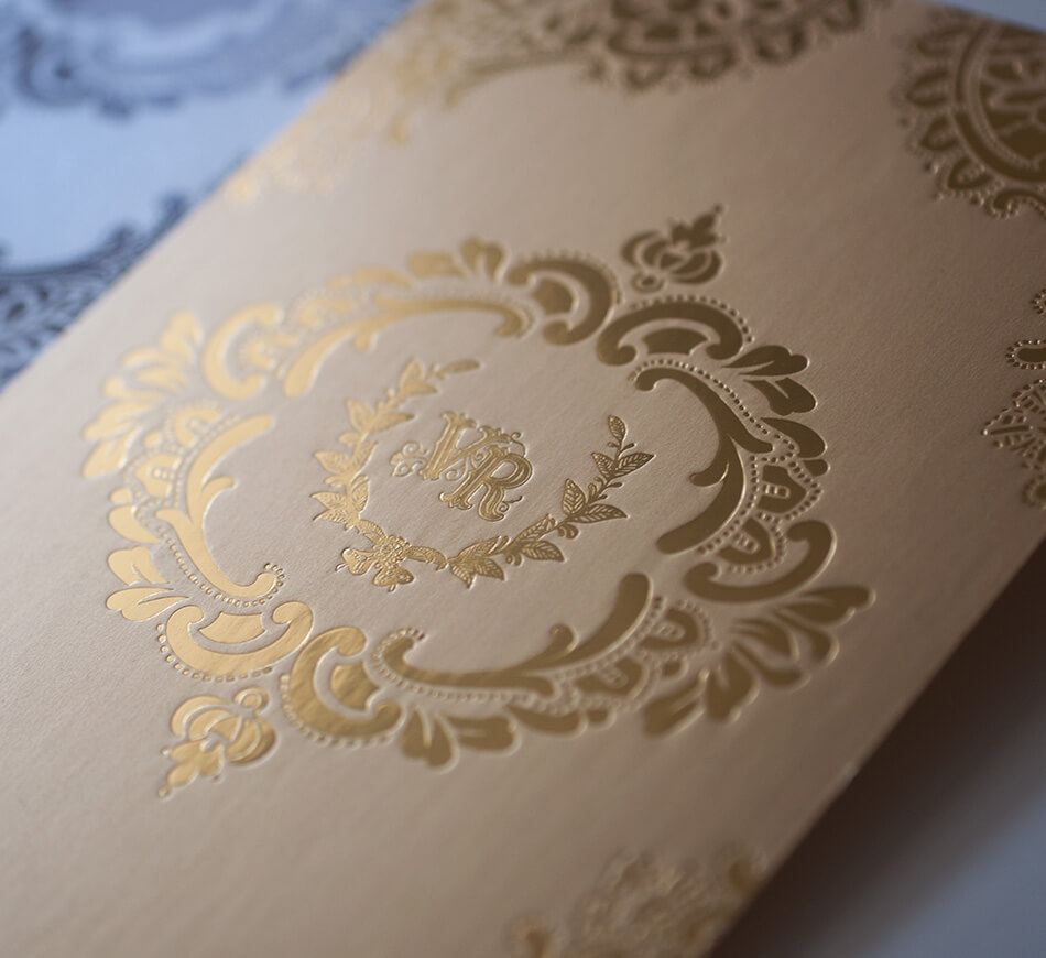 Gold on gold wedding invitation backer