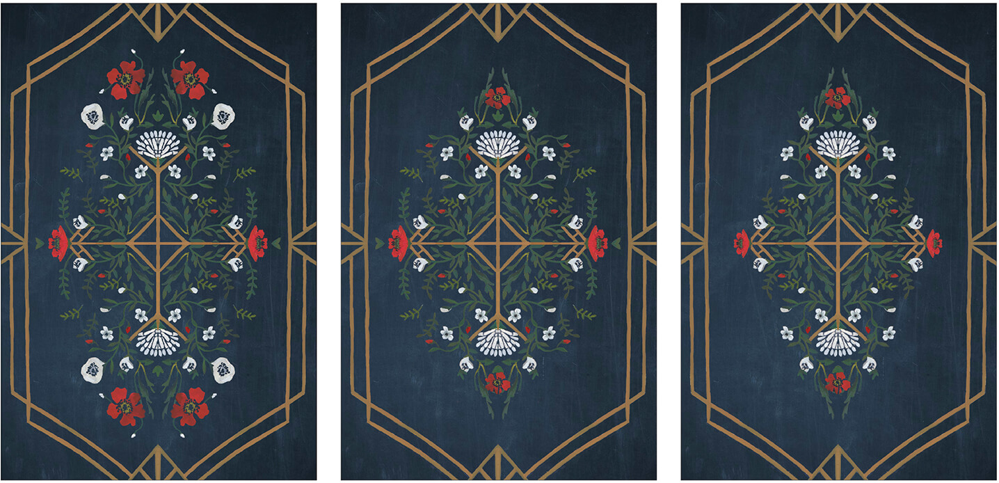 Gouache painted motifs