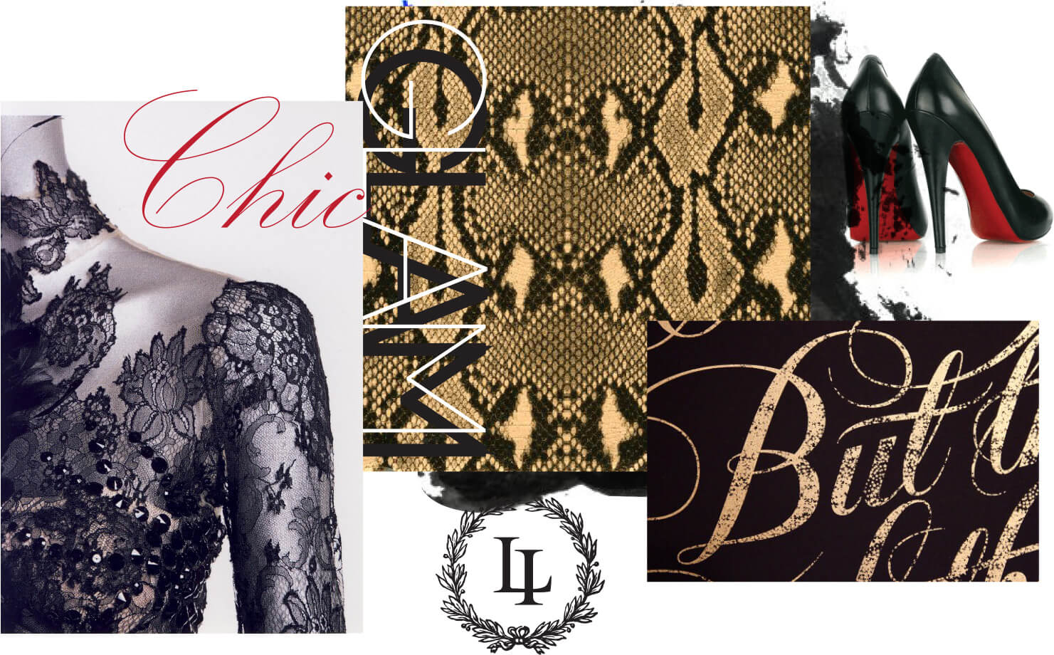 Christian Louboutin, black lace and typography inspired images