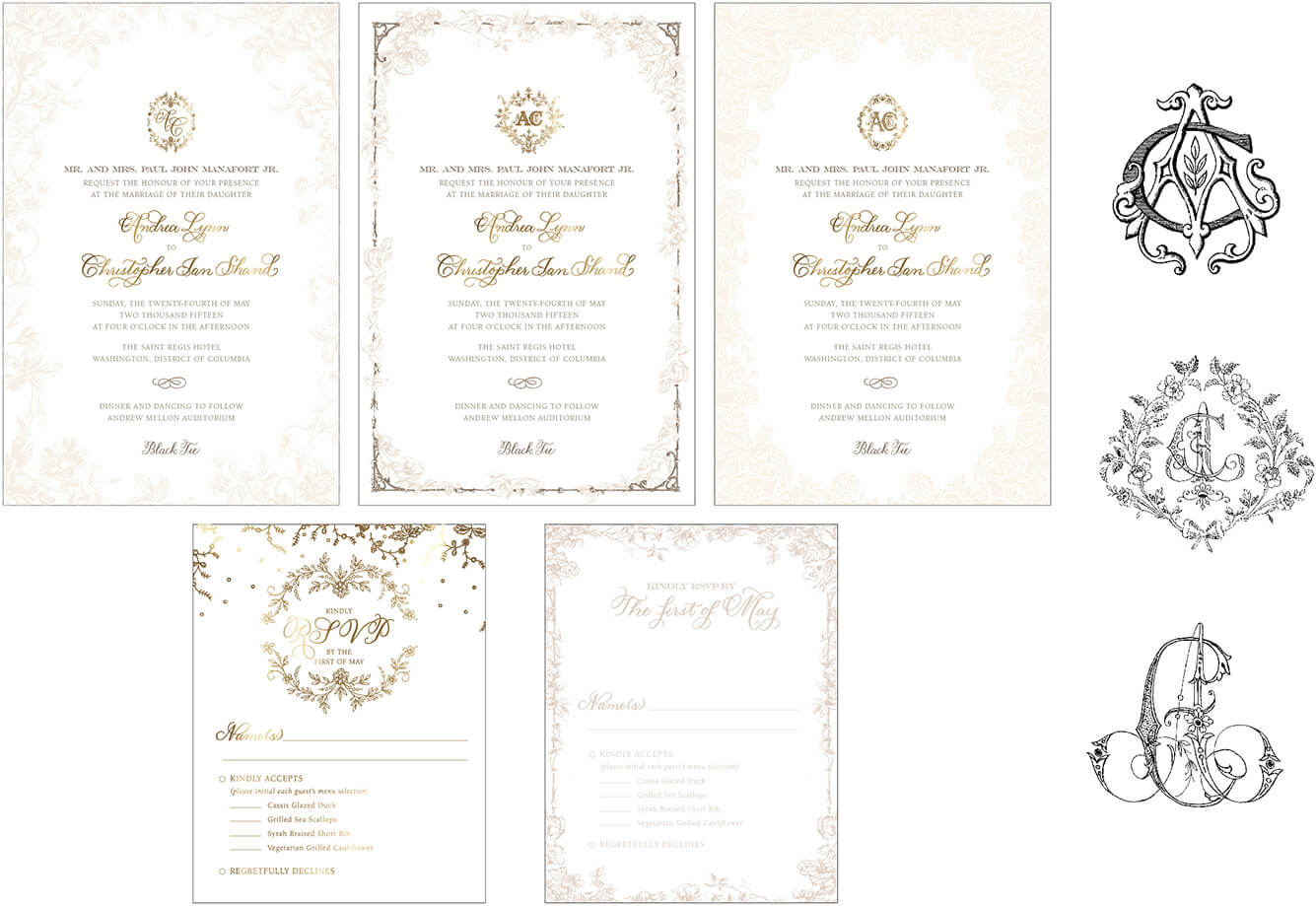 Alternate invitation designs with floral borders