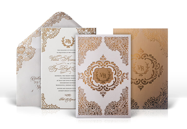 Lace ivory and gold laser cut wedding invitation