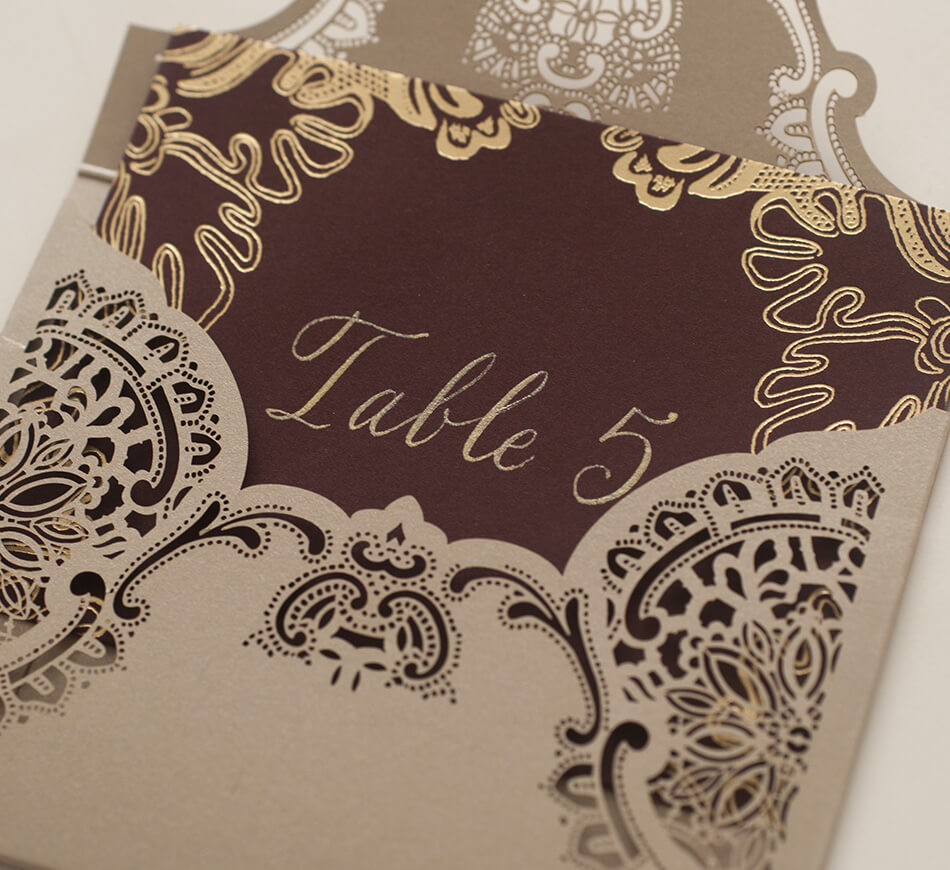 Laser cut lace escort card envelope and card