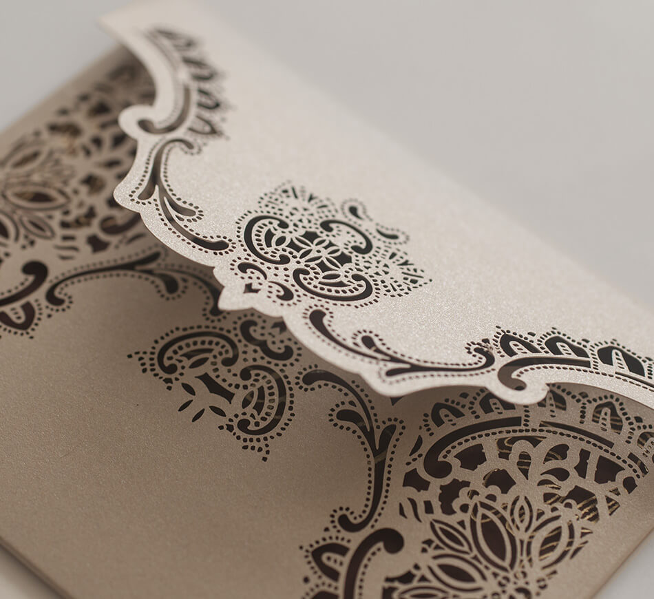 Laser cut escort card envelope