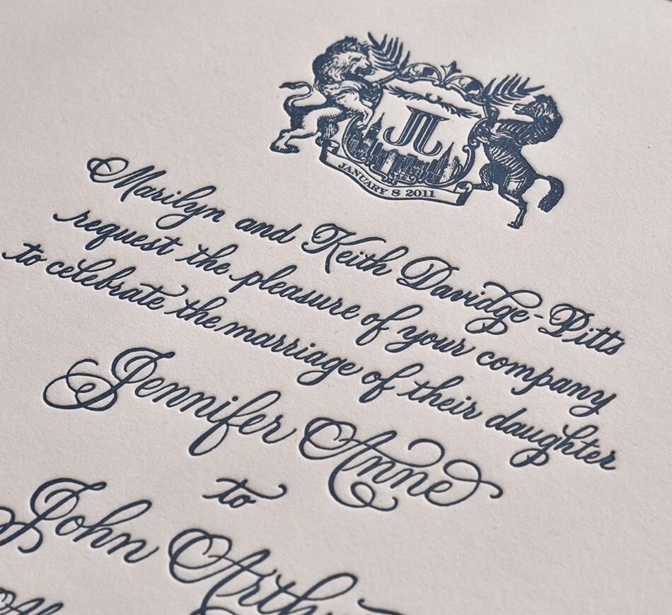Letterpress calligraphy and monogram