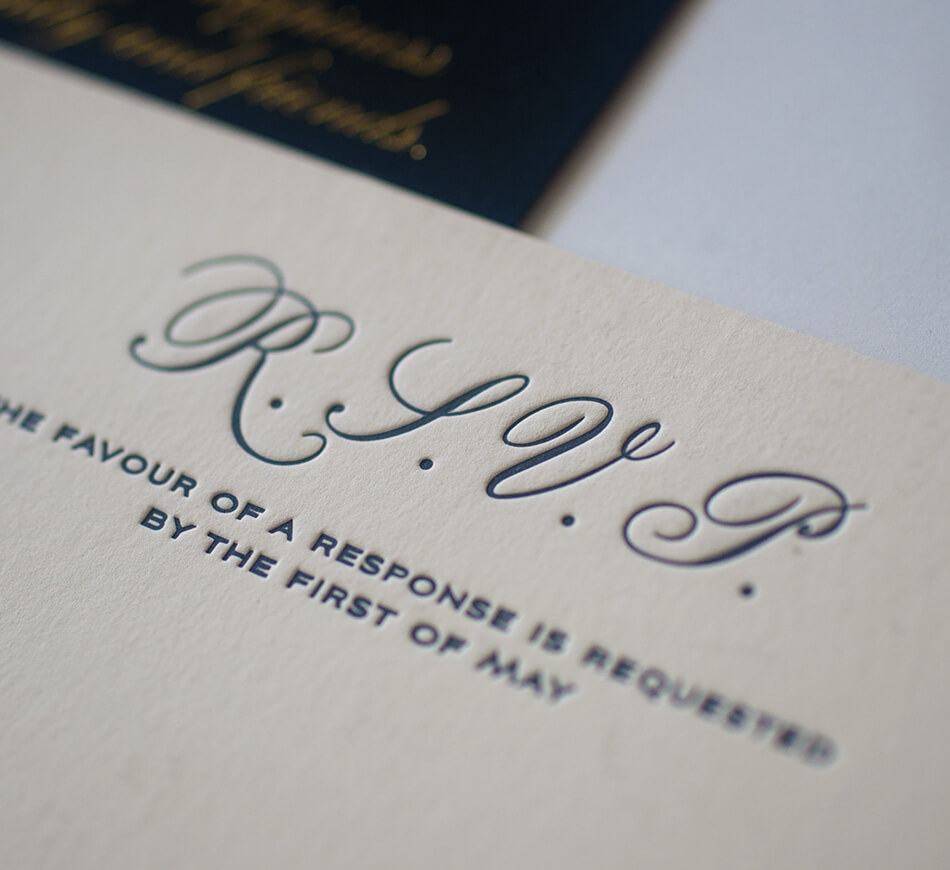 Black letterpress reply card typography