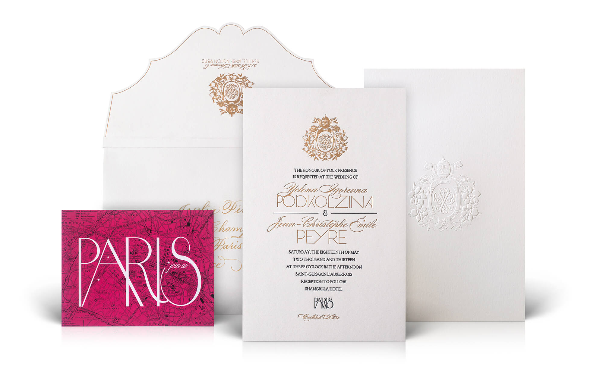 Luxe Paris destination wedding invitation