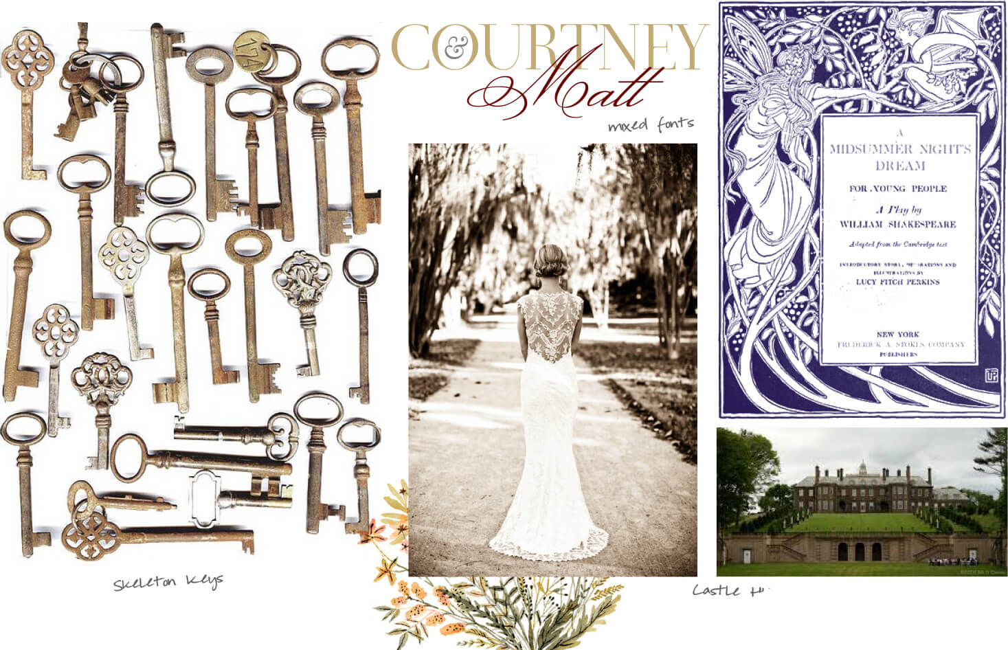 Skeleton keys, lace wedding gowns and castles