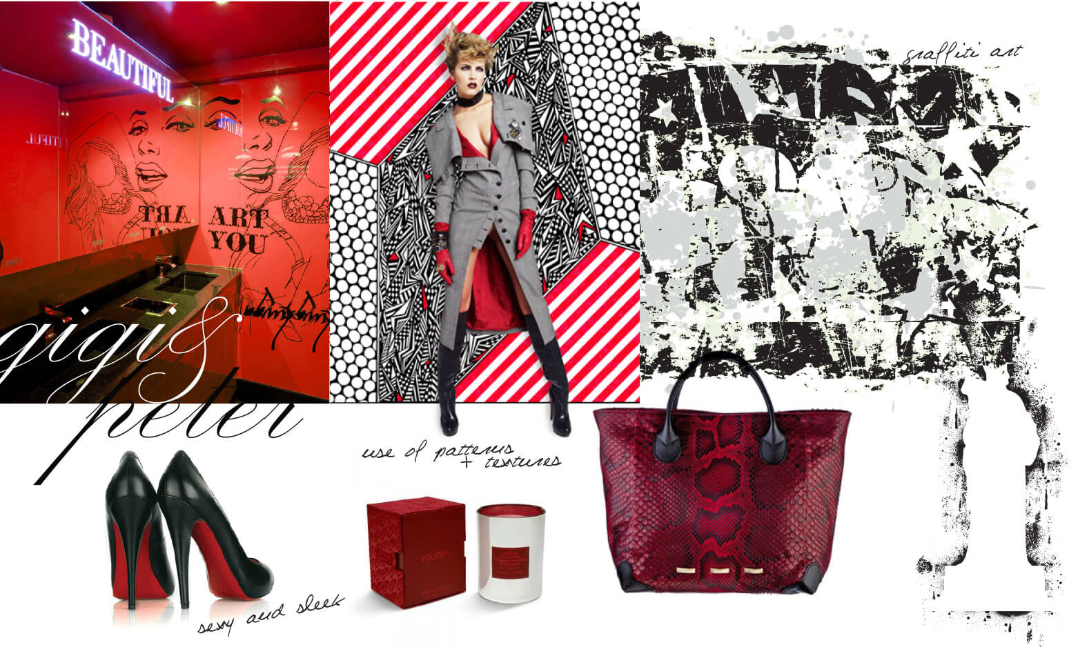 Modern and edgy inspiration in red, white and black