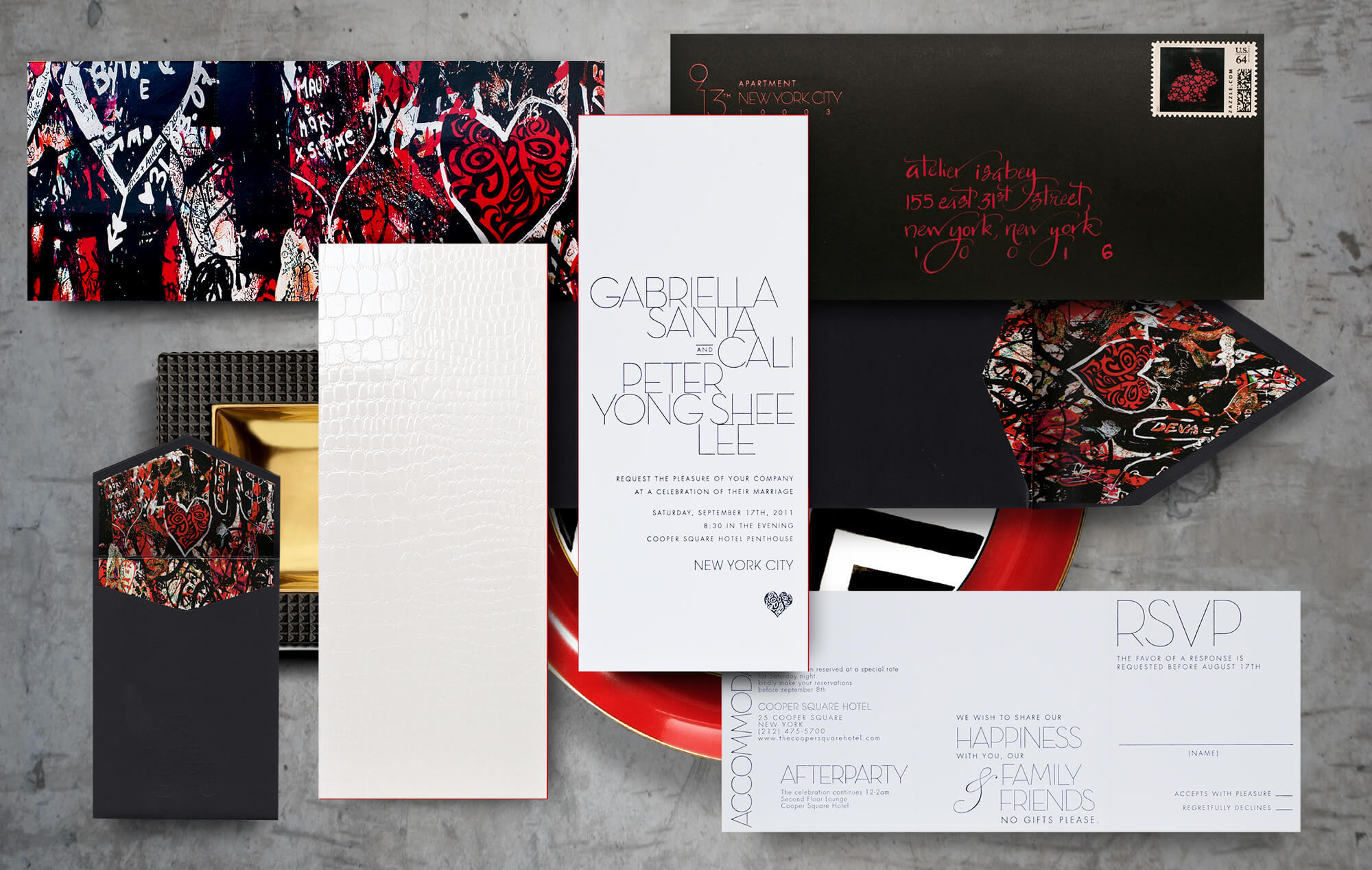 Modern graffiti wedding invitation