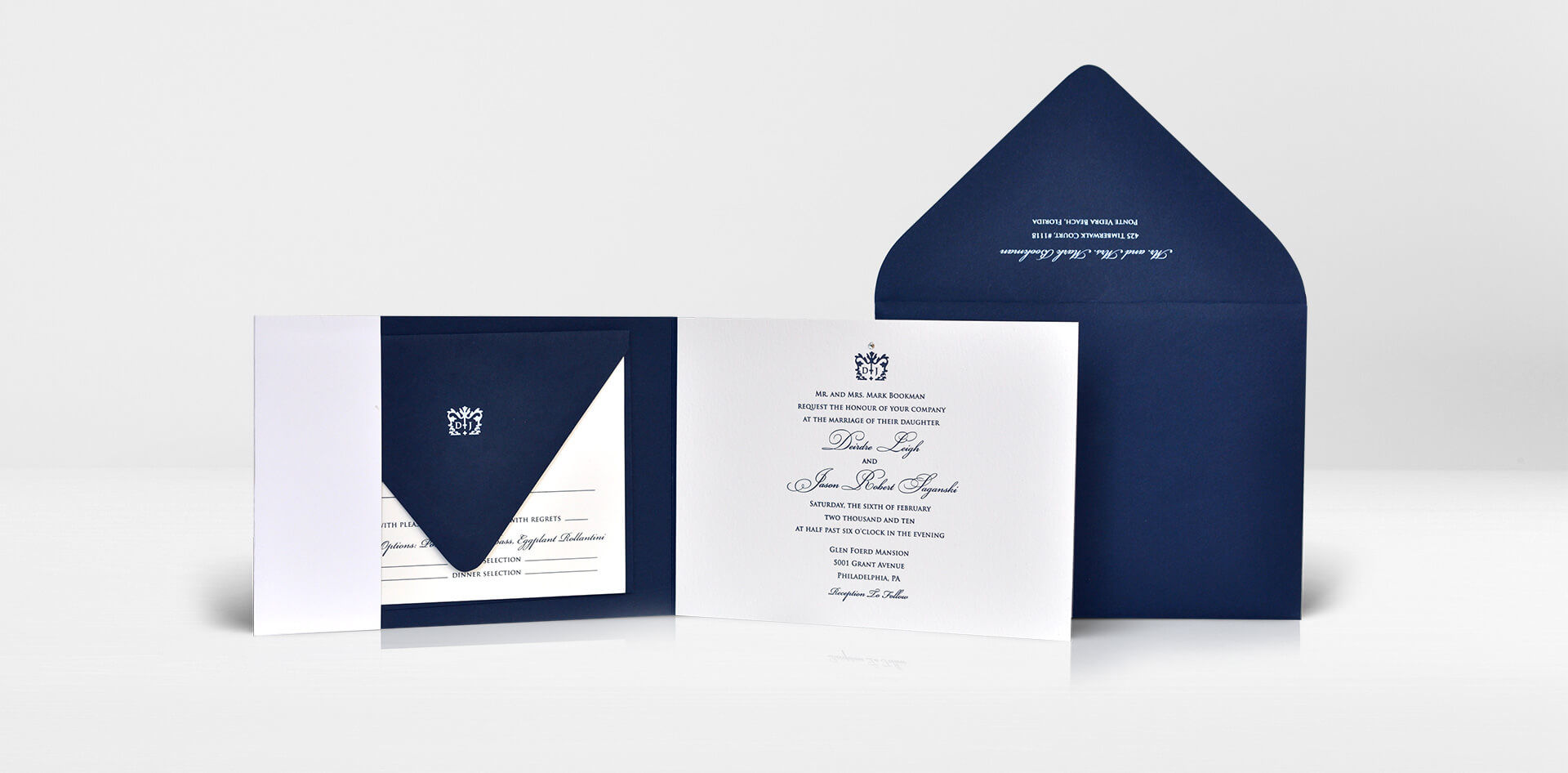 Classic navy and ivory letterpress wedding invitation