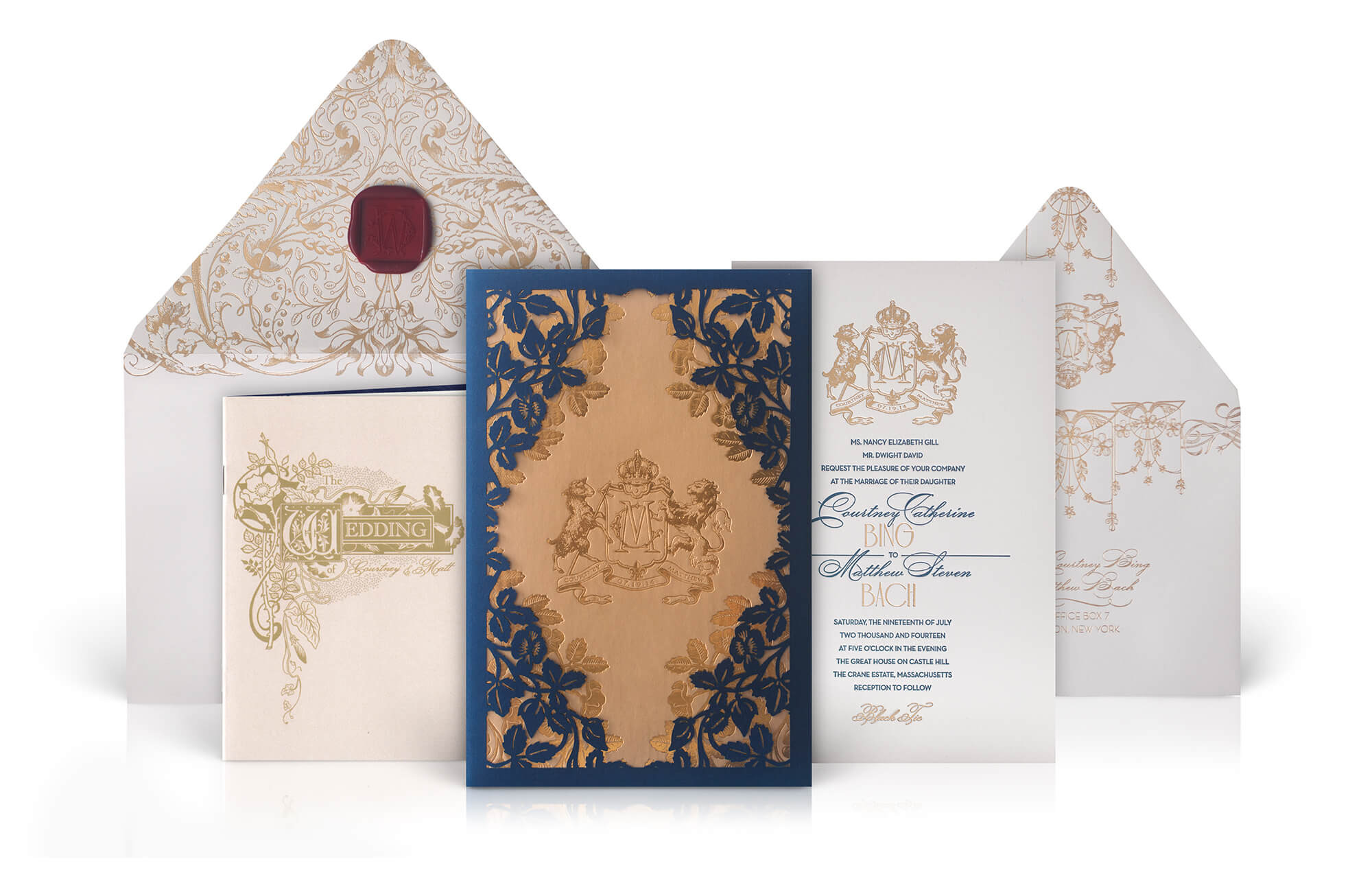 Old World Wedding Invitation with a laser cut sleeve