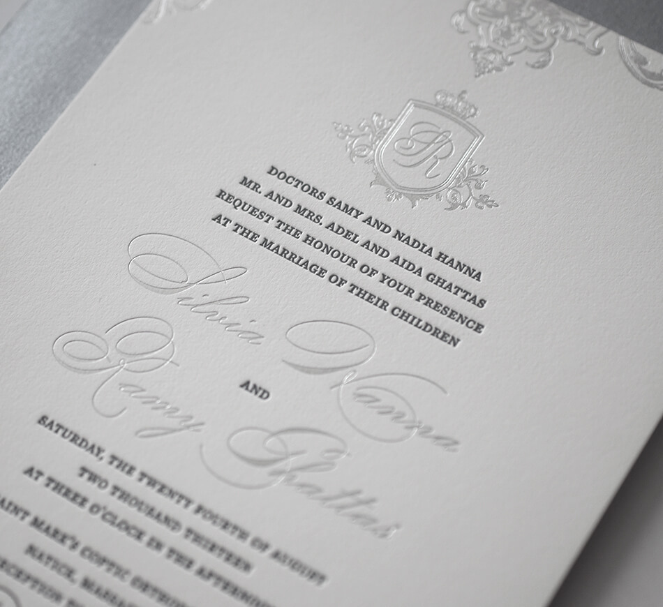 Silver and charcoal ornate regal invitation