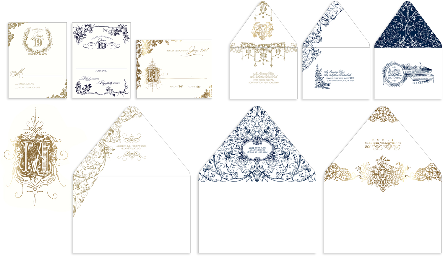 Ornate alternate designs for outer and reply envelopes