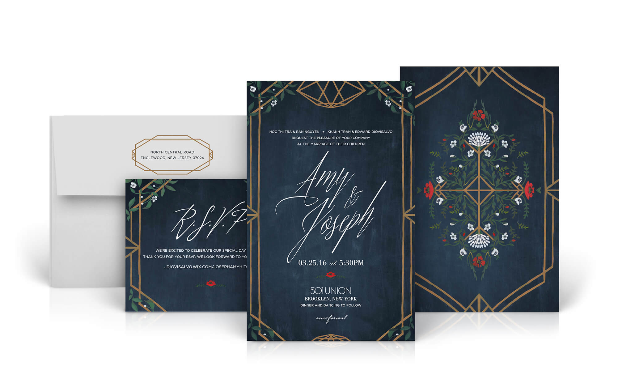 Painted Brooklyn wedding invitation