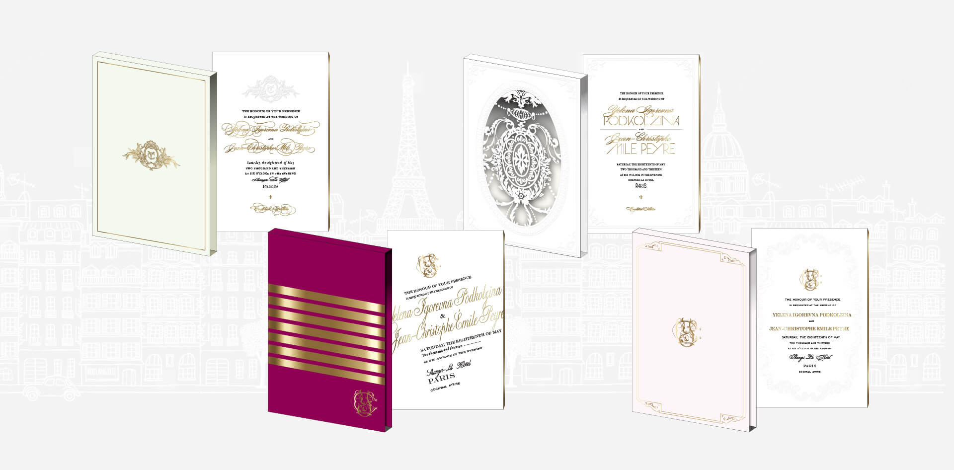 Alternate designs for a Paris destination wedding