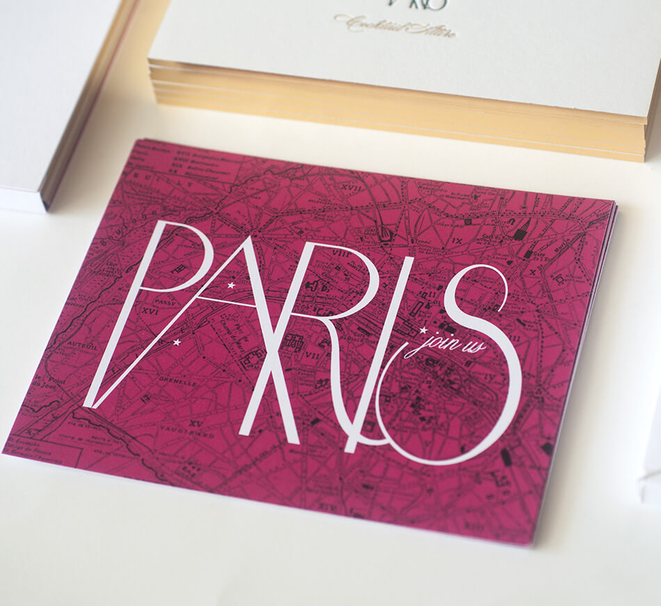 Pink map of Paris on reply postcard