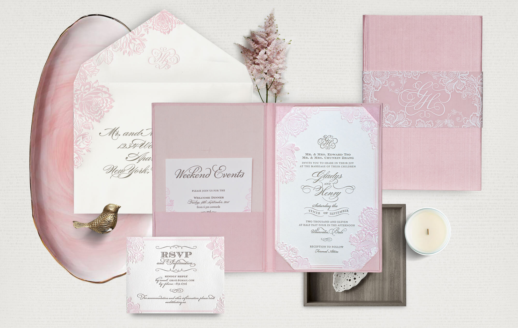 Blush pink invitation with a silk folder