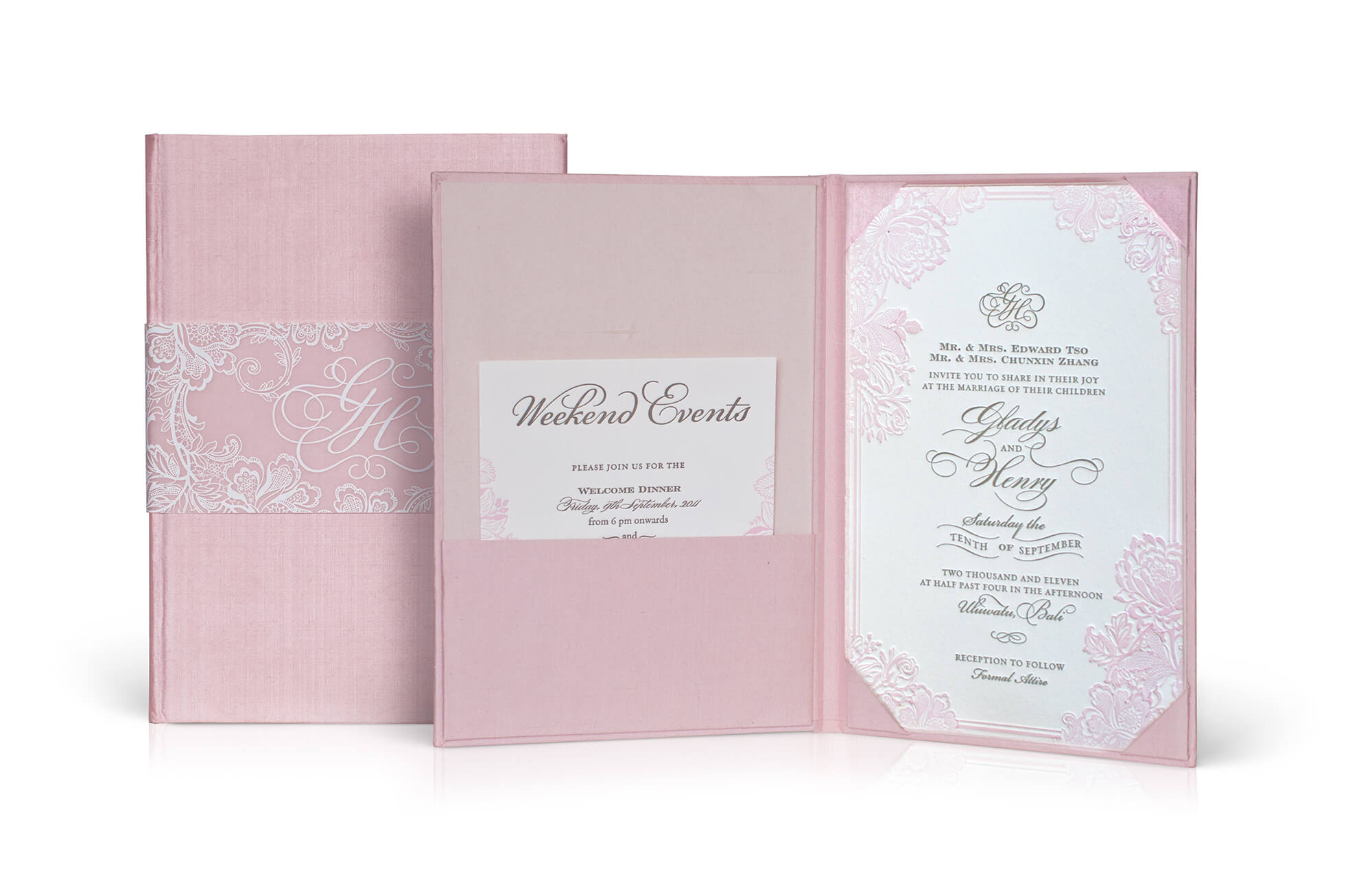 Blush silk folder wedding invitation with letterpress card